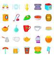 dinnerware icons set cartoon style vector image vector image