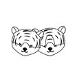 dotted shape cute tiger head animal couple vector image