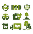 eco green isolated icons reusing reducing and vector image