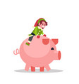 elf boy sitting on pig merry christmas holiday new vector image vector image