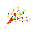 exploding party popper with serpantin and vector image vector image