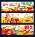 fast food cafe bistro menu and pizza banners vector image vector image