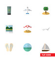 flat icon beach set of yacht coconut ocean and vector image vector image