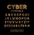 golden circuit board pattern typeface digital vector image vector image