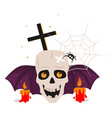halloween skull and calndles vector image vector image