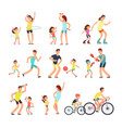 happy sport family mom dad with kids doing vector image vector image