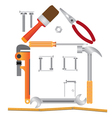 House made from various instruments vector | Price: 1 Credit (USD $1)
