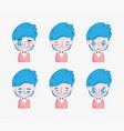 kawaii cartoon faces cute young boy with blue hair vector image
