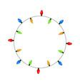 light bulb garland circle christmas design vector image
