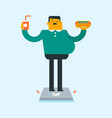 man standing on scales with fast food in hands vector image vector image