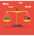 Money and time balance on the scales vector image