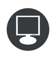 Monochrome round monitor icon vector image vector image
