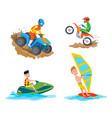 motorbike riding hoband windsurfing people vector image vector image