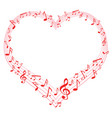 music of love music notes in heart shape vector image vector image