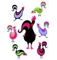 new year symbol design rooster holiday card vector image vector image