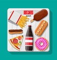 overweight on bathroom scale fast food on floor vector image