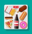 overweight on bathroom scale fast food on floor vector image vector image