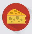 Piece of cheese round icon vector image
