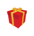 red gift with a yellow ribbon on a white vector image vector image
