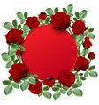 red round paper with red hot roses vector image vector image