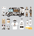 restaurant cafe design set street food truck shop vector image vector image
