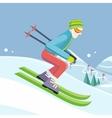 Skier on Slope in Flat Design vector image vector image