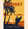 sunset miami beach poster surfing vintage retro vector image vector image