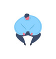 thick man character sitting pose isolated relax vector image