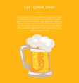 traditional glass of beer with white foam vector image vector image