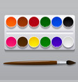 watercolor paints in a box with a brush vector image vector image