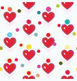 white pattern with red heart and dots vector image