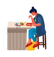 woman at home cartoon female embroiders or glues vector image