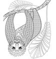 zentangle three-toed sloth climbing on a vector image