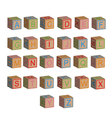 Toy block alphabet letters in 3D vector image