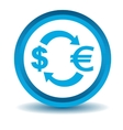 Dollar-euro exchange icon blue 3D vector image