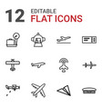 12 plane icons vector image vector image