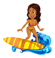 A tan girl surfing vector image vector image