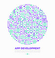 app development concept in circle with line icons vector image vector image