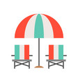 beach chair and umbrella summer related flat icon vector image vector image