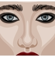 beauty woman face with big blue eyes
