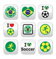 Brazilian flag football or soccer ball buttons se vector image vector image