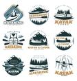 Canoe Kayak Emblem Set vector image