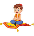 cartoon aladdin travelling on flying carpet vector image vector image