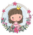 cartoon princess in a flowers frame vector image vector image