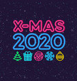 christmas greeting card neon style vector image vector image