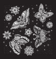 collection of ink butterfly and flower tattoo in vector image