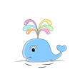 Colorful funny whale hand drawn doodle cartoon vector image