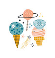 creative set funny ice cream planets space vector image