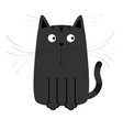 Cute black cartoon cat Big moustache whisker Funny vector image vector image