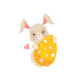 cute cartoon bunny sitting holding yellow egg vector image vector image
